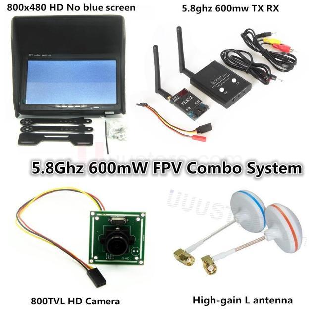 FPV Combo System 5.8Ghz 600mw Transmitter Receiver No blue 800x480 Monitor sunshade holder DJI Phantom QAV250 Quadcopter