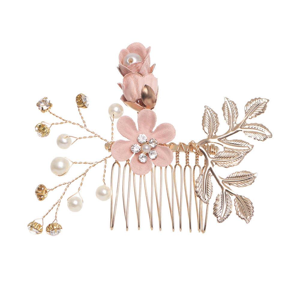 2019 nowa luksusowa niebieska kwiatowa do włosów grzebienie stroik Prom Bridal ślubne akcesoria do włosów złote liście biżuteria do włosów szpilki do włosów