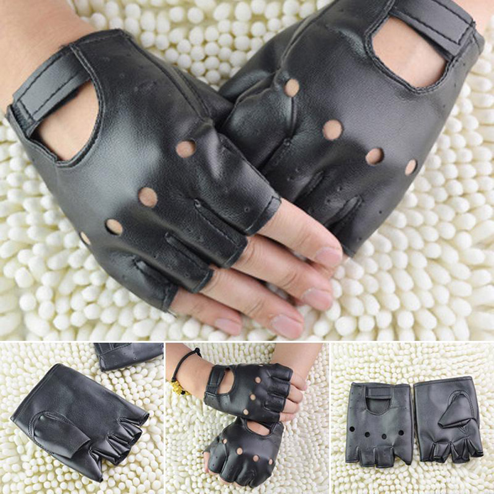 1Pairs Semi-finger Hip-hop Gloves Punk Artificial Leather Driving Biker Fingerless Mittens Heart Cutout Dance Motorcycle Gloves