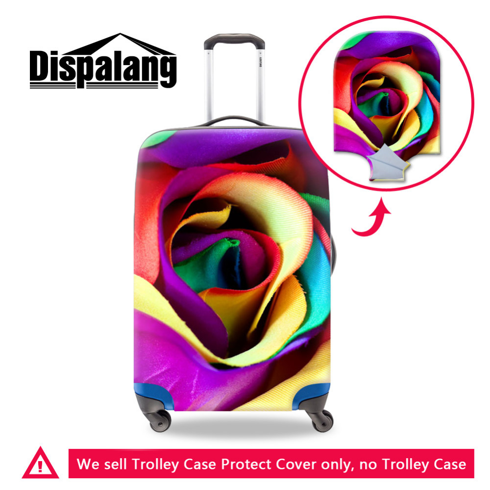 -Plant Print Luggage protective cover (1) 3D Emoji Prints Elastic Luggage Protective Covers For 18-30 Inch Cases Thick Waterproof Travel Suitcase Rain Cover