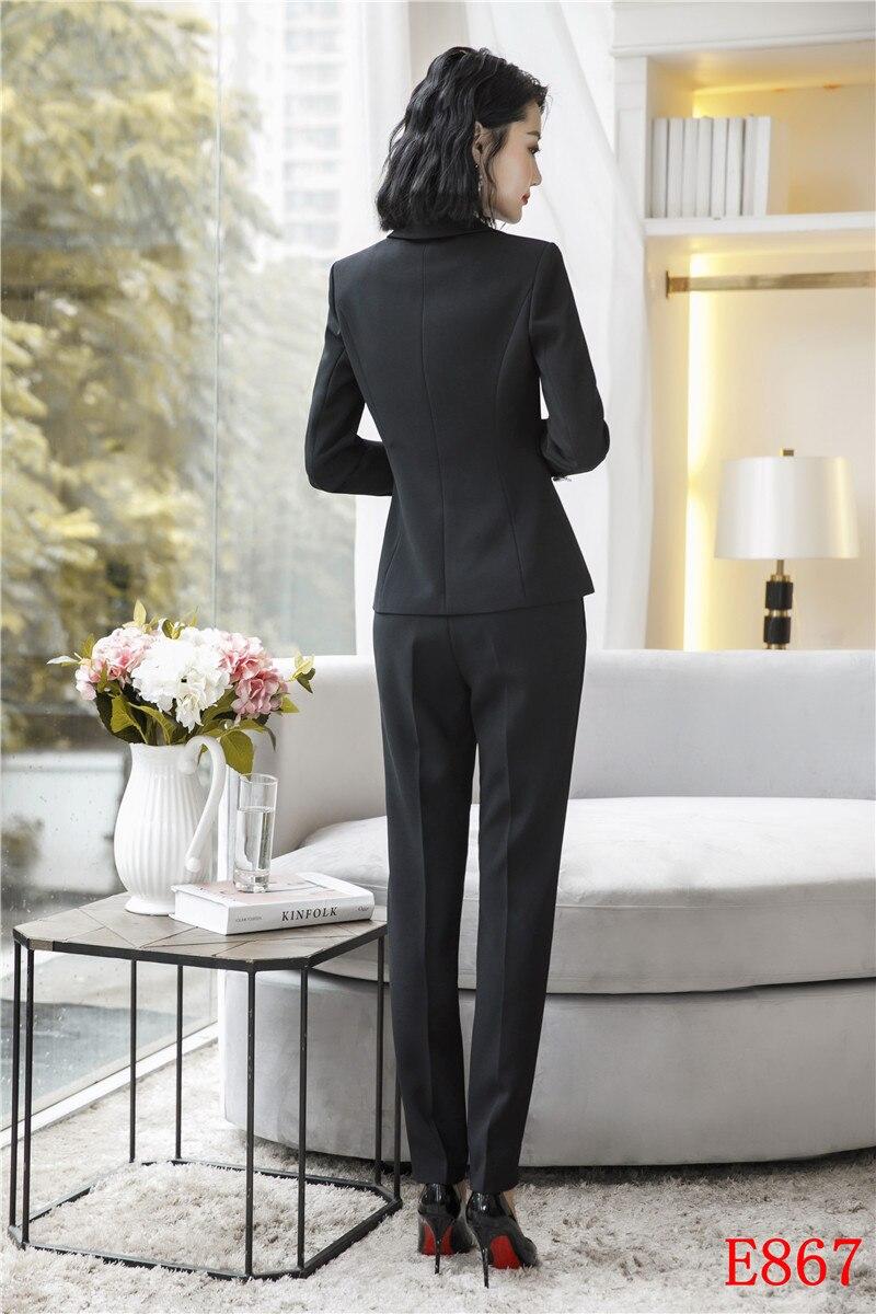 2019 Pantalon Bureau Et Femmes Formelle Ensemble Veste De Vêtements Avec Blazer Dames Costumes Nouveau Uniforme Styles Noir Travail D'affaires fzqwx4fd