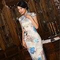 S-3XL de Las Mujeres Chinas de Satén Cheongsam Qipao de Seda de Algodón Vestido Largo Vestidos de La Madre de China Oriental Cheongsam Tradicional De La Boda