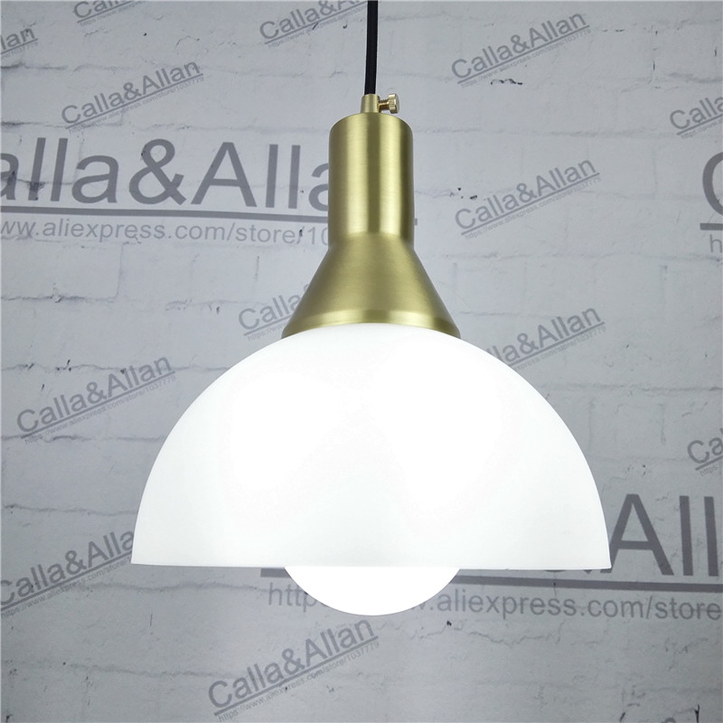 E27 All brass single head hanging light 100% pure copper material pendant lamp with white glass shade LED bulb lighting fixture  heavy bullet head bobbin holder with ceramic tube tip protecting lines brass copper material