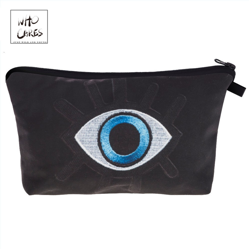 Who Cares Fashion Printing Big Eyes Makeup Bags Cosmetics Pouchs For Travel Ladies Pouch Women Cosmetic Bag