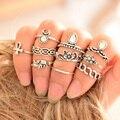 Moda minúsculo design retro anel conjuntos para as mulheres do vintage elefante cruz floral turco boho praia knuckle anel com pedras 10 pcs
