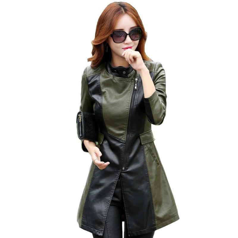 2019 Faux PU Outerwear Long Women   Leather   Trench Coat Female Autumn   Leather   Jacket Women Winter Plus Size Slim Ladies 4XL,5XL