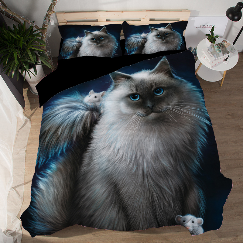 Hot Item 3d Animal Black Cat Bedding Set Twin Queen King Size