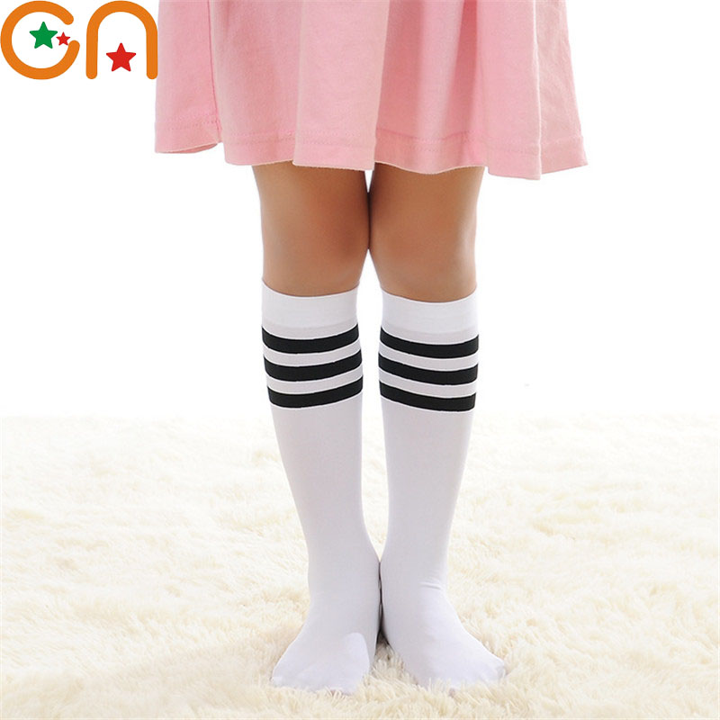 Bērnu meiteņu zēnu kokvilnas modes Ceļa augstās svītru zeķes - Bērnu apģērbi