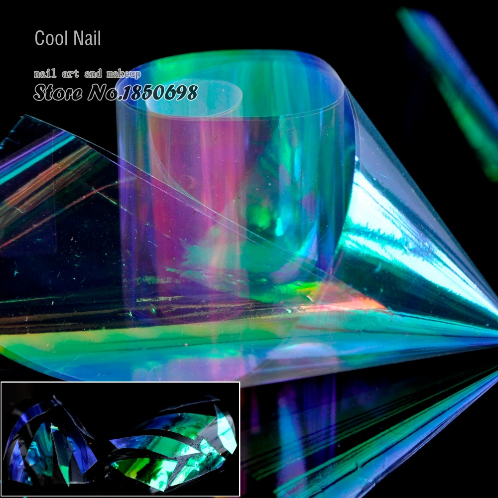 1 Roll Shiny Laser Nail Foils Holographic Foils Nail Art Sticker Decoration Paper Green Purple Rainbow Light cut in pieces YC461 1 design laser cut white elegant pattern west cowboy style vintage wedding invitations card kit blank paper printing invitation