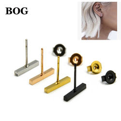 BOG- Pair Surgical Steel Simple T Bar Studs Punk Earrings Square Column Cylinder Bar Stud Ear Unisex Hiphop Unisex Jewelry