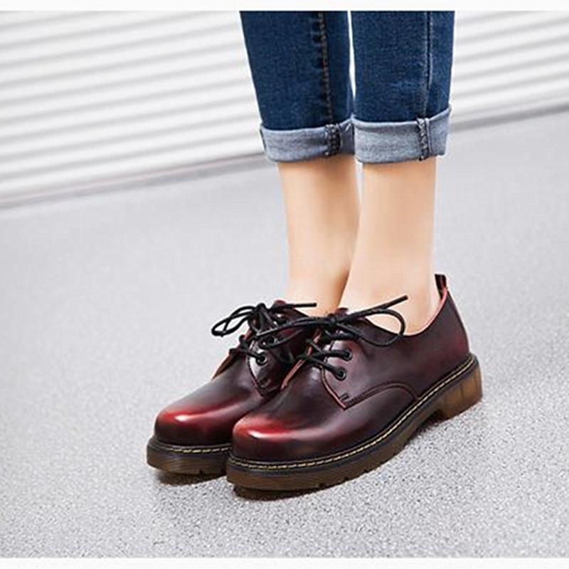 Women leather shoes fashion Oxfords platform shoes women winter plush warm shoes lace up sapato feminino
