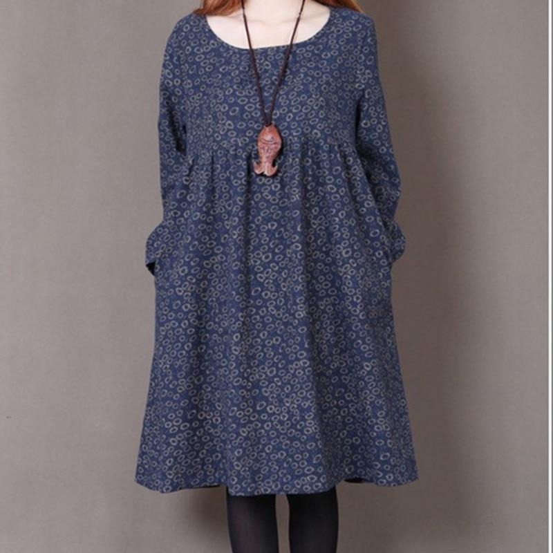 Uego 2021 New Fashion Women Autumn Spring Dress Print Floral Slim Waist Casual Dress Cotton Linen Plus Size Vintage Party Dress 6