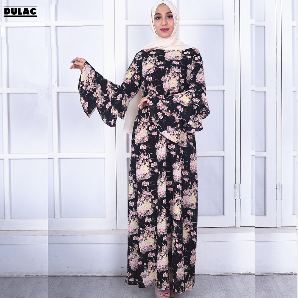 ca97feb6054 Mode Sans Longues Femmes Hijab Manches cou Photo Longue No Lâche O Musulman  Hijab Imprimer photo Abaya Flare Occasionnel ...