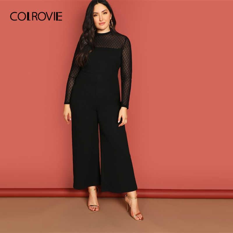 919b193d1240 COLROVIE Plus Size Black Mock-Neck Mesh Yoke Wide Leg Elegant Jumpsuit  Womens 2019 Spring
