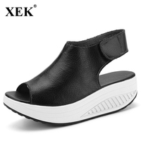 2017 New Fashion Women Sandals For Spring Summer Peep Toes Leisure Cowhide Rome Style Wedges Sandals