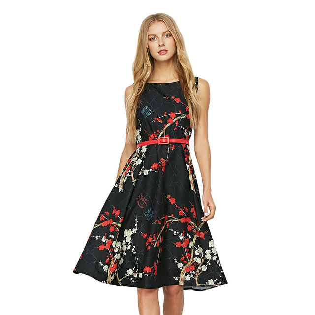 4979e33c47c Kenancy Retro Flower Pattern Dress For Women Sleeveless Slim A Line Midi Belt  Dresses Party Banquet Female Vestidos