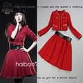 2013 Autumn/Winter Runway New Fashion Women's Long Sleeve Woolen Metal Chained Jacket+Big Swing Skirt Red Skirt Suits