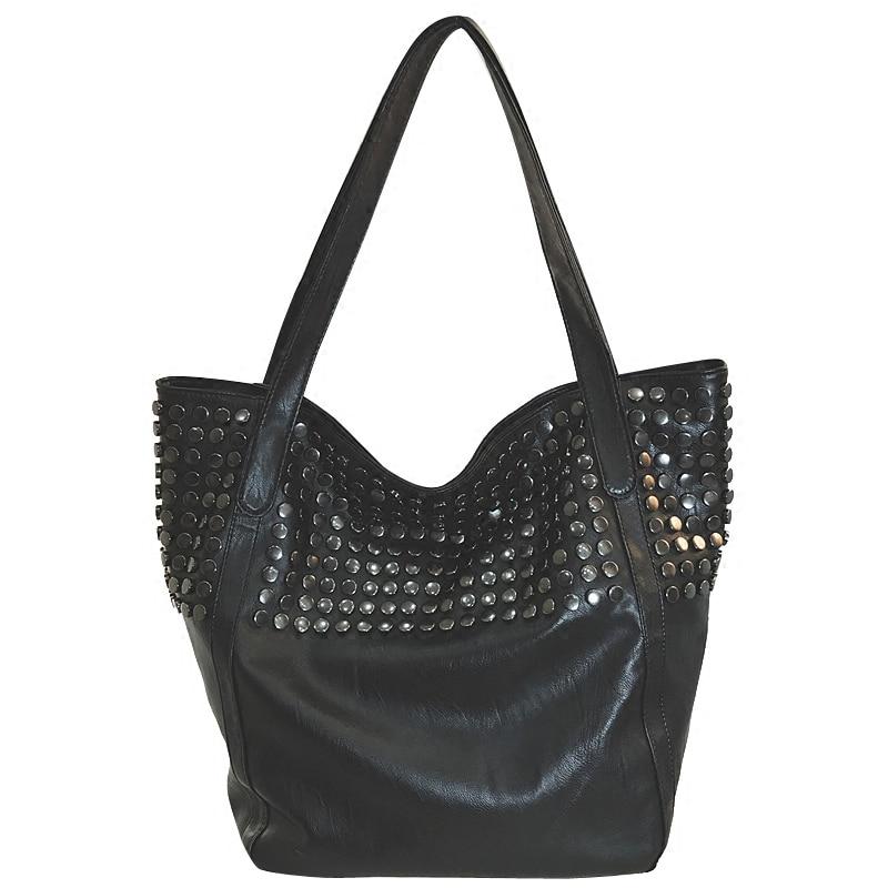 b9888bd060 Big Bag Women 2018 Summer Female Shopper Bag Top Handle Tote Studded Large  Capacity Soft Leather Handbag Black One Shoulder Bag-in Top-Handle Bags  from ...