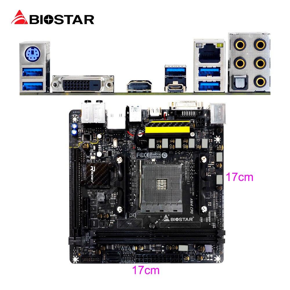 BIOSTAR New X370GTN Game Motherboard For AMD Ryzen 1700 1600 1500 9800 ITX Racing Computer Mainboard DDR4 32G Hi-Fi Technology