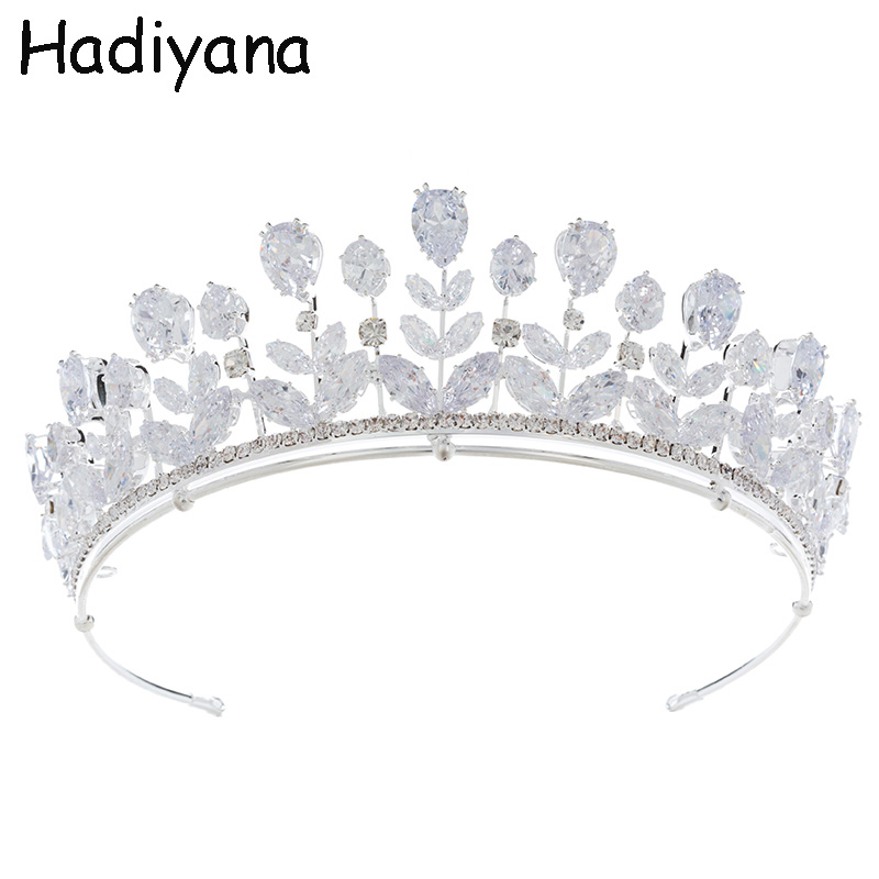 Hadiyana Fashion Bride Tiaras And Crowns Shiny Cubic Zirconia Exquisite Large Drops Princess Bridal Wedding Crown Copper HG6099