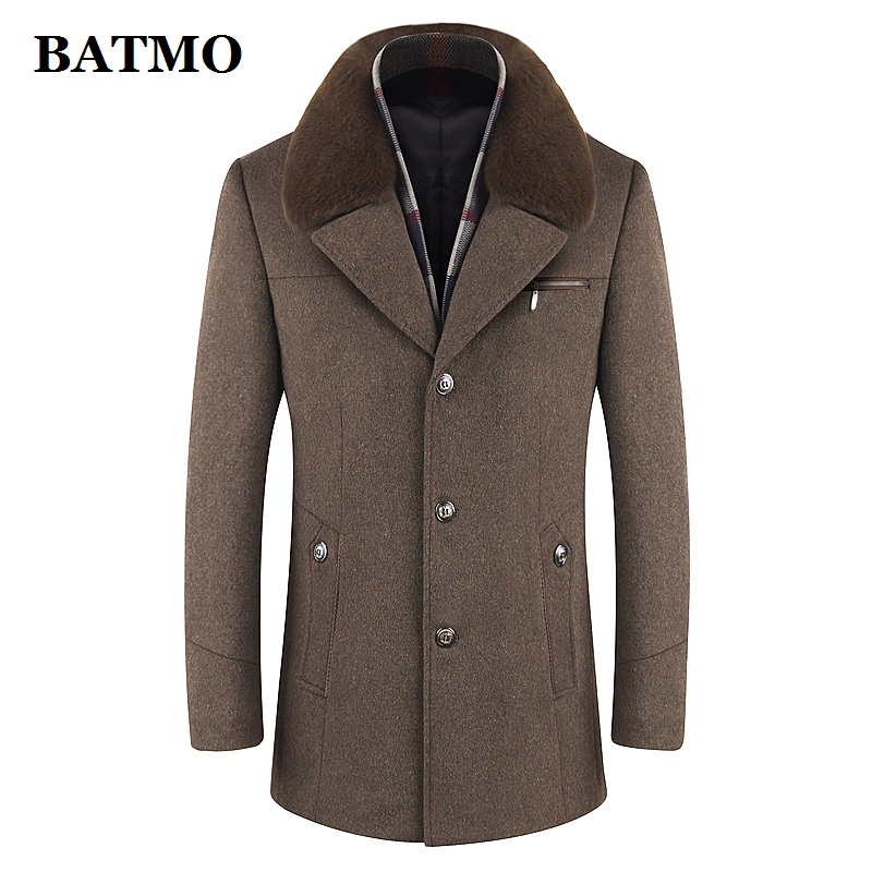 BATMO 2019 New Arrival Winter High Quality Wool Trench Coat Men,men's Casual Winter Wool Coat ,plus-size M-6XL ,1659