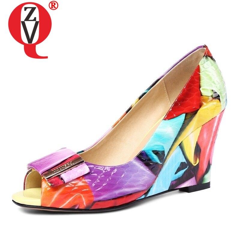 ZVQ new style women genuine leather pumps ladies peep toe wedges wedding high heels good quality