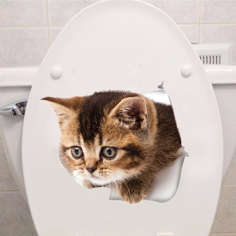 3D Cats Wall Sticker Hole View Toilet Stickers Bathroom Living Room Home Decor Animal Vinyl Decals Art cute Sticker Wall Poster in Wall Stickers from Home Garden
