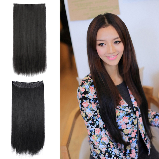 Fashion Party Women Full Hair Wigs Extension hair Black & White Long Straight