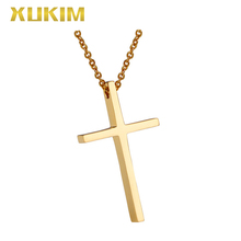 RP124 Xukim Jewelry Simple Gold Necklace Gift Stainless Steel Cross Religion Pendant Necklace rp114 xukim jewelry bible jesus cross stainless steel religion pendant necklace