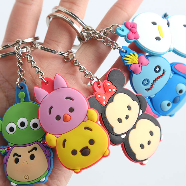 50 pcs/lot Tsum mini toy pendant Minnie Donald Duck Winnie medium PVC figure keychain 6cm for christmas gift free shipping