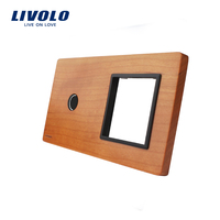 Free Shipping Livolo Cherry Wood Panel 151mm 80mm EU Standard 2Gang 1 Frame Wood Panel VL