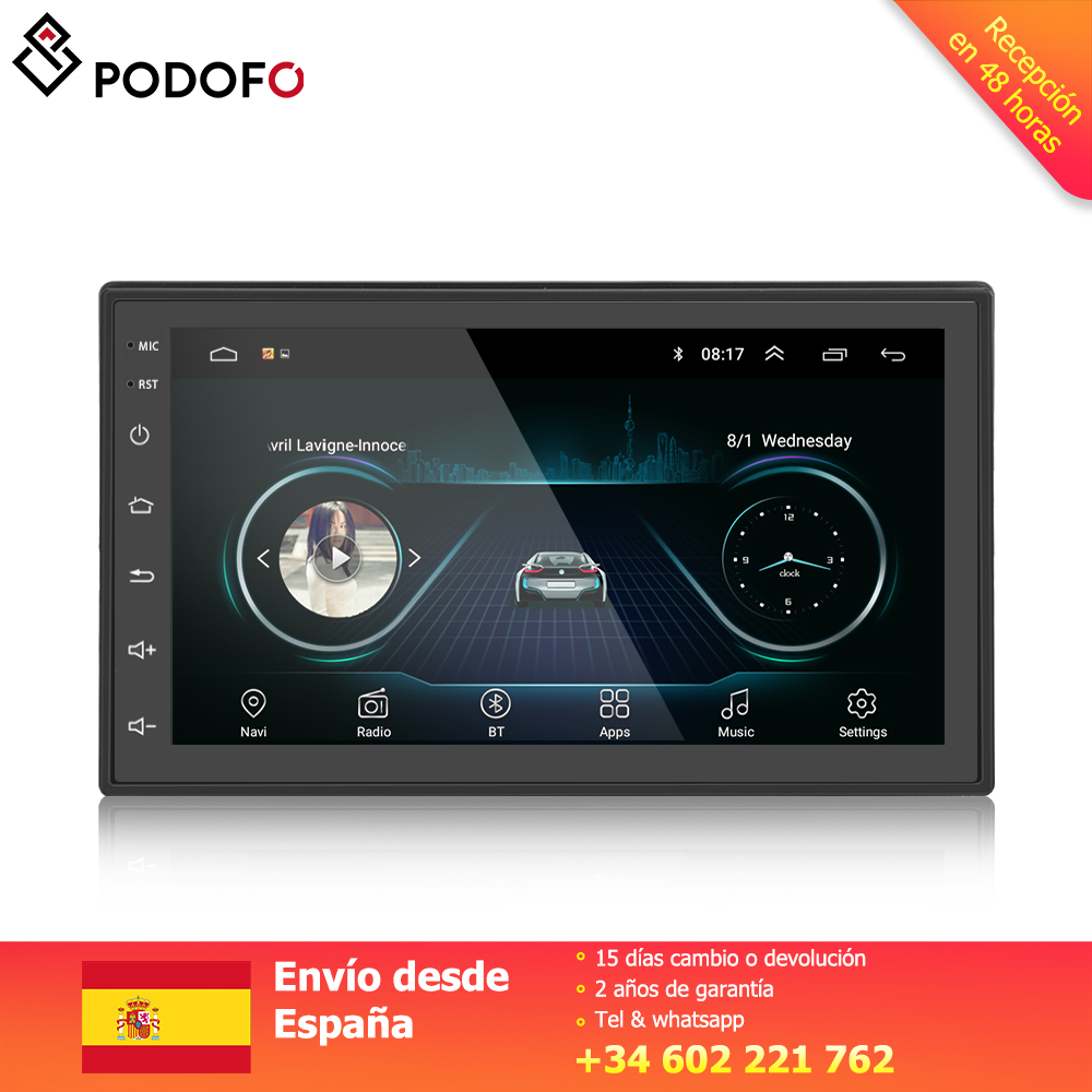 Podofo Android 8.1 Car Multimedia Player 2 din 7'' touch FM radio with Bluetooth GPS WIFI 1024*600 Screen resolution