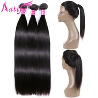 Peruvian Straight Hair Bundles With Frontal Human Hair 3 Bundles With Closure 360 Lace Frontal With Bundles Remy Hair Extensions