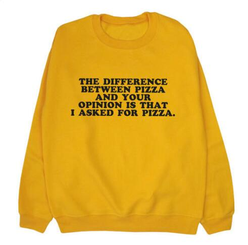 The Difference Between Pizza Sweatshirt Hipster Tumblr Cotton Jumper Pizza  Graphic Outfits Casual Aesthetic Clothing Crewneck 290e7ce4f