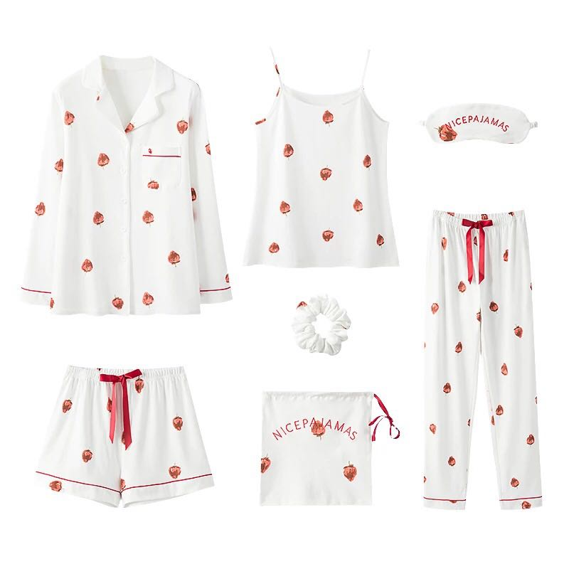 7Piece/  Set     Pajamas     Set   Women Cotton Spring Pyjamas Sexy Print Female Robe Shorts Shirt Stitch Lingerie Home Fashion Sleepwear