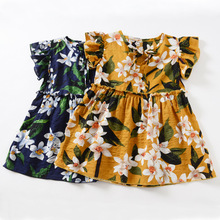 Toddler Girl Dress Summer Princess Floral Fashion Dresses for Girls 1 2 3 4 5 6 7 8 9 Year Baby Little Girl Yellow Blue Soft
