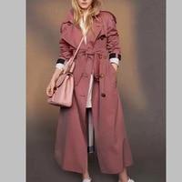 Новый Британский стиль поясом плащ 2018 осень взлетно посадочной полосы свободные Двойной Брестед ветровка пальто Модные женские штормовка