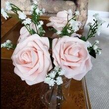 5 шт./лот 8 см Bigs пенополиэтилен искусственные розы бутоны Для свадебное украшение для дома DIY Декоративные искусственные цветы венок белый