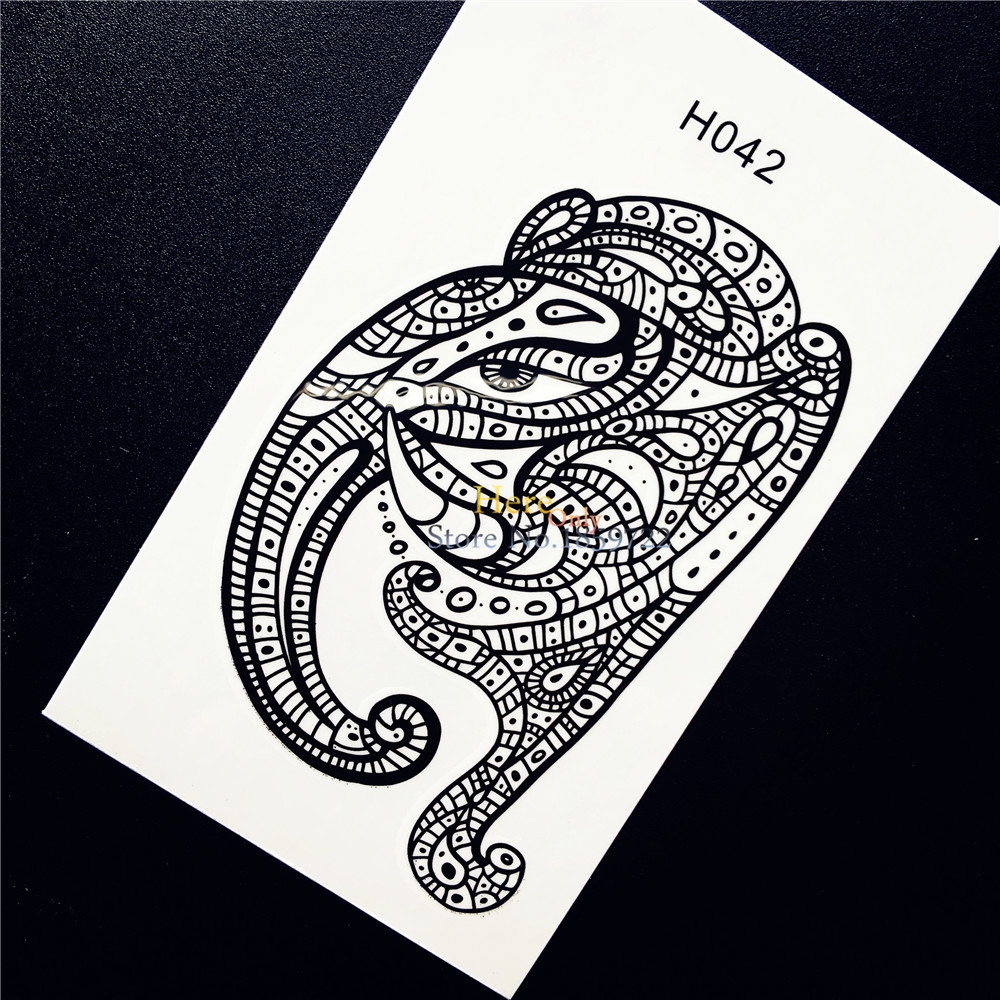 1pc Black Henna Mehndi Elephant Temporary Tattoo Sticker For Men Women Arm Leg Decals Waterproof Body Art Tattoo Stickers Hh042 Warm And Windproof Beauty & Health