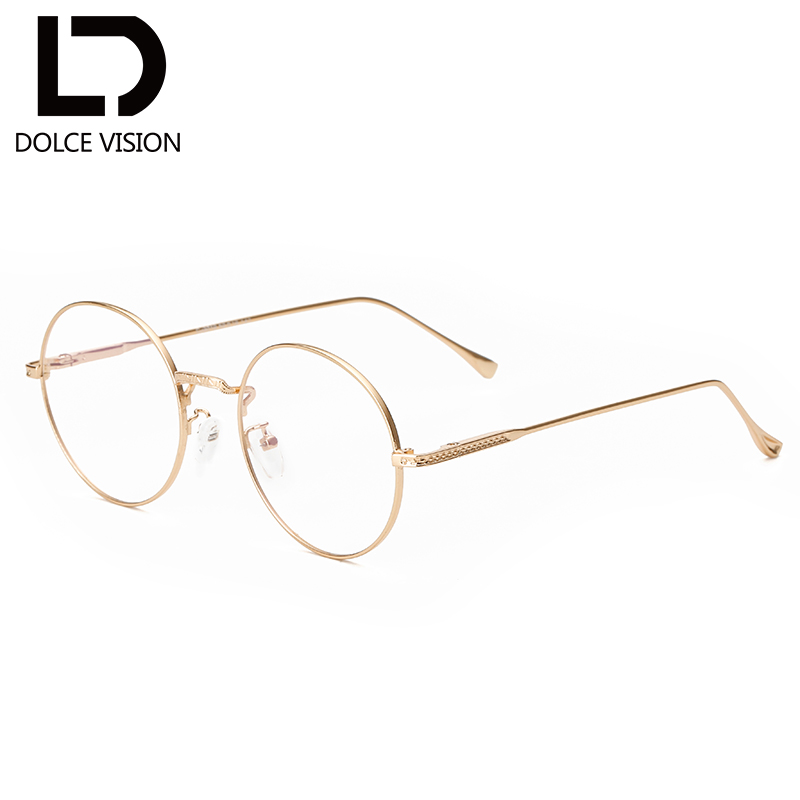 dolce vision fashion gold frame round gold glasses women clear lens glasses original brand eyewear high quality 2017 new oculos