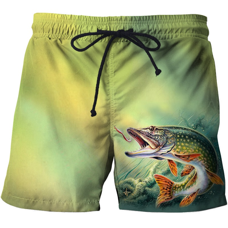 Swim shorts swim pants beach board 3d printed fish swim shorts quick dry pants swimsuit men's casual running shorts