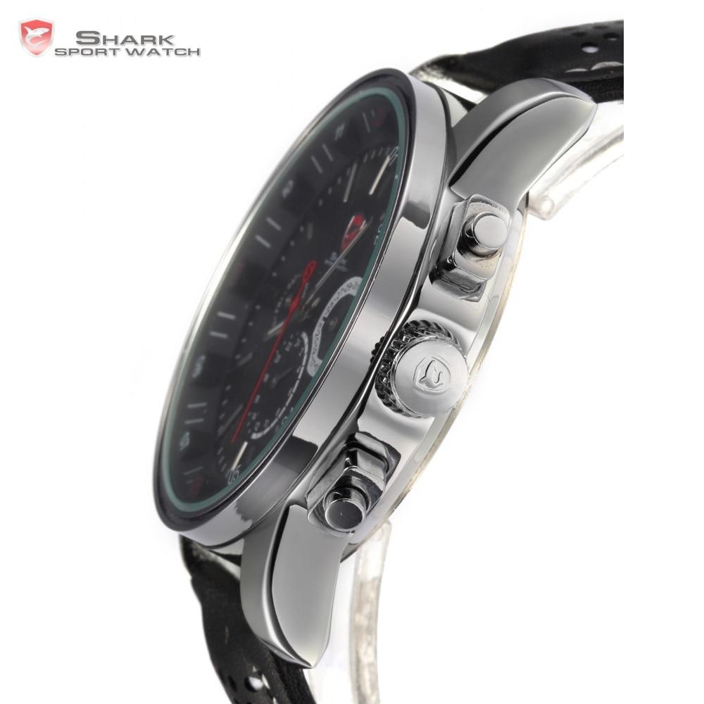 Montre de Sport Pacific Angel requin 6 mains calendrier boîte en acier inoxydable noir cuir Relojes hommes Quartz poignet étiquette montre/SH092 - 4
