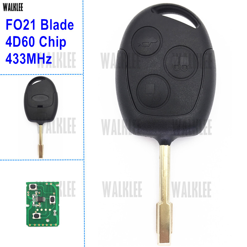 WALKLEE Suit for Ford Remote Key for Fiesta Fusion Focus Mondeo D-Max S-Max FO21 4D60 3 Buttons 433MHz