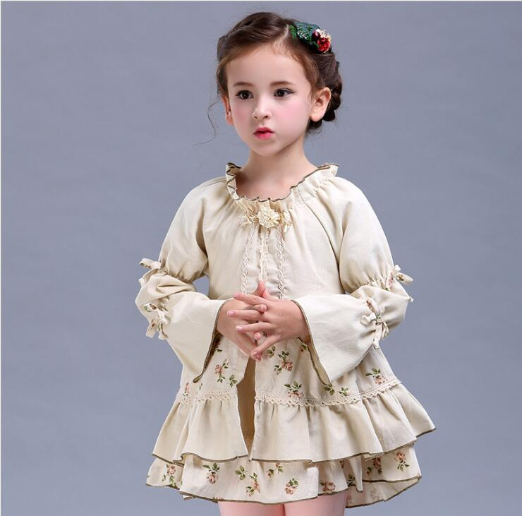 Spring Autumn Baby Girls Retro tutu princess dress kid's Cotton Children Party Dresses royal Robe Tiered  fluffy Clothing uoipae party dress girls 2018 autumn