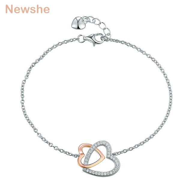 Newshe Double Heart Romantic For Women 925 Sterling Silver
