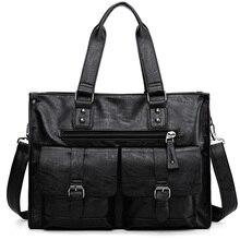 Business Men Shoulder Bags Large Capacity Black Laptop Handbag PU Leather High Quality sac homme Man Briefcase Work Bag XA245ZC