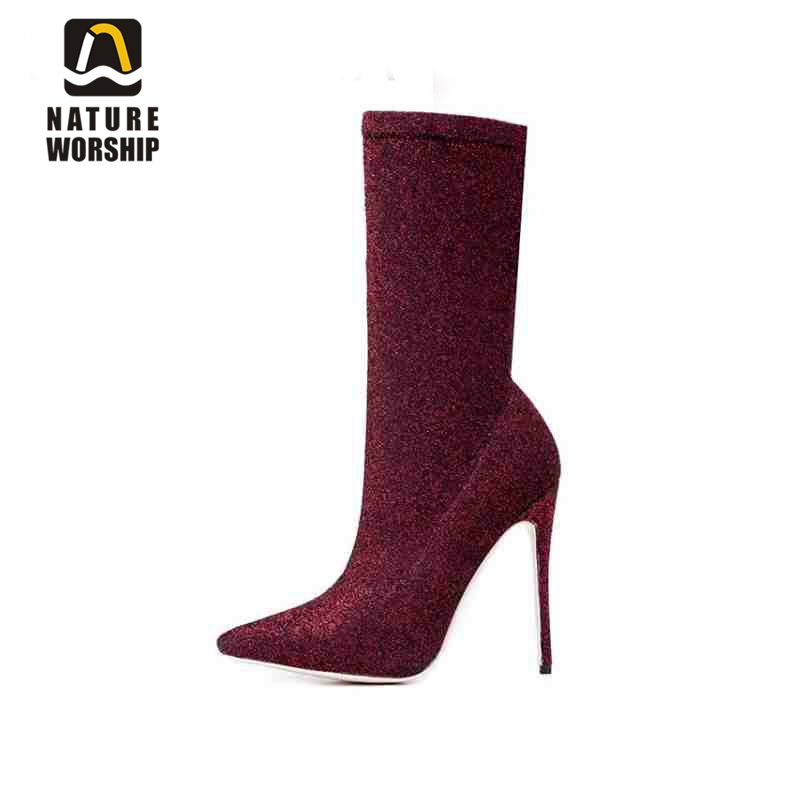 Stretch fabric shoes for women mid-calf boots rome retro style Spring/Autumn women boots Slip-On pointed toe high heels boots slip on winter boots stretch lycra