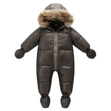 Qualidade superior inverno marca jaqueta moda marrom 9 m 36 m casaco infantil 90% pato para baixo neve wear bebê menino snowsuit com capa de pele da natureza