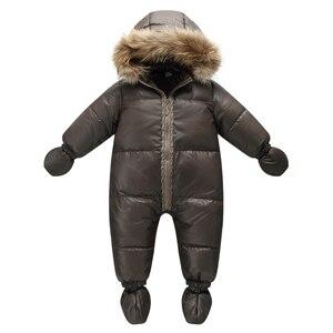Image 1 - Top Kwaliteit Winter Merk Jas Mode Bruin 9M  36M Baby Jas 90% Eendendons Sneeuw Slijtage Baby jongen Snowsuit Met Natuur Bont Kap
