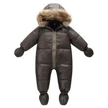Top qualität winter marke jacke mode braun 9M  36M infant mantel 90% ente unten schnee tragen baby junge schneeanzug mit natur pelz haube